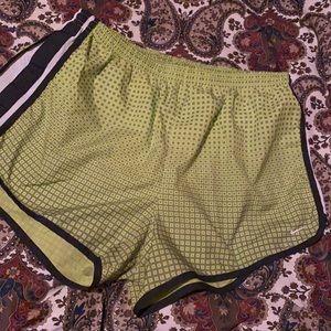 Nike Dri-Fit Shorts (womens' L) lime green/blk/wht